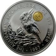 Australia 1 Dollar Kookaburra. Beijing coin show Panda Privy Mark 1997 KM# 318.9 THE AUSTRALIAN KOOKABURRA 1 OZ. 999 SILVER 1997 coin reverse