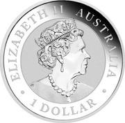 Australia 1 Dollar Kookaburra. Beijing Panda Privy mark 2019 P ELIZABETH II AUSTRALIA 1 DOLLAR coin obverse
