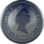 Australia 1 Dollar Kookaburra. Denmark Privy Mark 1997 KM# 318.1 ELIZABETH II AUSTRALIA 1 DOLLAR coin obverse