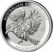 Australia 1 Dollar Kookaburra. f15 Fabulous Privy mark 2018 P AUSTRALIAN KOOKABURRA 2018 1 OZ 9999 SILVER coin reverse