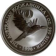 Australia 1 Dollar Kookaburra. France Privy Mark 1996 KM# 289.2 THE AUSTRALIAN KOOKABURRA 1 OZ. 999 SILVER 1996 coin reverse