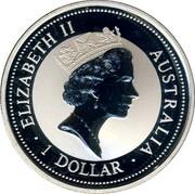 Australia 1 Dollar Kookaburra. Germany Privy Mark 1996 ELIZABETH II AUSTRALIA 1 DOLLAR coin obverse