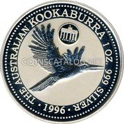 Australia 1 Dollar (Kookaburra. Germany Privy Mark) THE AUSTRALIAN KOOKABURRA 1 OZ 999 SILVER 1996 coin reverse