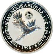 Australia 1 Dollar Kookaburra. Great Britain Privy Mark 1996 KM# 289.5 THE AUSTRALIAN KOOKABURRA 1 OZ. 999 SILVER 1996 coin reverse