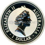 Australia 1 Dollar (Kookaburra. Great Britain Privy Mark) KM# 289.5 ELIZABETH II AUSTRALIA 1 DOLLAR coin obverse
