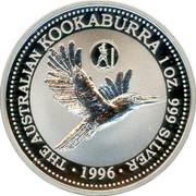 Australia 1 Dollar Kookaburra. Greece Privy Mark 1996 KM# 289.4 THE AUSTRALIAN KOOKABURRA 1 OZ. 999 SILVER 1996 coin reverse