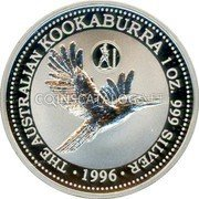 Australia 1 Dollar (Kookaburra. Greece Privy Mark) KM# 289.4 THE AUSTRALIAN KOOKABURRA 1 OZ. 999 SILVER 1996 coin reverse