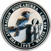 Australia 1 Dollar Kookaburra. Ireland Privy Mark 1998 KM# 362.3 THE AUSTRALIAN KOOKABURRA 1 OZ. 999 SILVER 1998 coin reverse