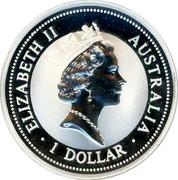 Australia 1 Dollar Kookaburra. Italy Privy Mark 1997 KM# 318.6 ELIZABETH II AUSTRALIA 1 DOLLAR coin obverse