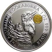 Australia 1 Dollar Kookaburra. Japan Gold Yen Privy Mark 1997 KM# 318.12 THE AUSTRALIAN KOOKABURRA 1 OZ. 999 SILVER 1997 coin reverse