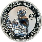 Australia 1 Dollar Kookaburra. Netherlands Privy Mark 1997 KM# 318.7 THE AUSTRALIAN KOOKABURRA 1 OZ. 999 SILVER 1997 coin reverse