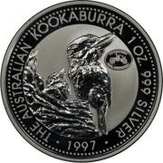 Australia 1 Dollar Kookaburra. Oldsmobile Privy Mark 1997 KM# 318.8 THE AUSTRALIAN KOOKABURRA 1 OZ. 999 SILVER 1997 coin reverse