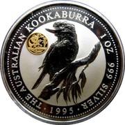 Australia 1 Dollar Kookaburra. Panda Privy Mark 1995 KM# 260 THE AUSTRALIAN KOOKABURRA 1 OZ 999 SILVER 1995 coin reverse