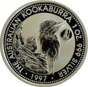 Australia 1 Dollar Kookaburra. Portugal Privy Mark 1997 KM# 318.11 THE AUSTRALIAN KOOKABURRA 1 OZ. 999 SILVER 1997 coin reverse