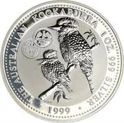 Australia 1 Dollar Kookaburra. Privy 1 German Mark 1999 KM# 399.5 THE AUSTRALIAN KOOKABURRA 1 OZ. 999 SILVER 1999 coin reverse