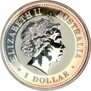 Australia 1 Dollar Kookaburra. Privy 1000 Italian Lira 1999 KM# 399.7 ELIZABETH II AUSTRALIA RDM 1 DOLLAR coin obverse