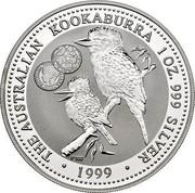 Australia 1 Dollar Kookaburra. Privy 1000 Italian Lira 1999 KM# 399.7 THE AUSTRALIAN KOOKABURRA 1 OZ. 999 SILVER 1999 coin reverse