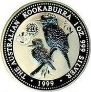 Australia 1 Dollar Kookaburra. Privy 20 Austrian Schillings 1999 KM# 399.10 THE AUSTRALIAN KOOKABURRA 1 OZ. 999 SILVER 1999 coin reverse