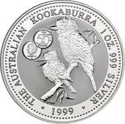 Australia 1 Dollar Kookaburra. Privy 50 Belgian Francs 1999 KM# 399.21 THE AUSTRALIAN KOOKABURRA 1 OZ. 999 SILVER 1999 coin reverse