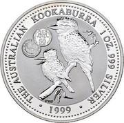 Australia 1 Dollar Kookaburra. Privy 50 Portuguese Escudos 1999 KM# 399.11 THE AUSTRALIAN KOOKABURRA 1 OZ. 999 SILVER 1999 coin reverse