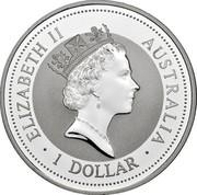 Australia 1 Dollar Kookaburra. Spain Privy Mark 1998 KM# 362.1 ELIZABETH II AUSTRALIA 1 DOLLAR coin obverse