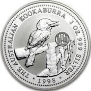 Australia 1 Dollar Kookaburra. Spain Privy Mark 1998 KM# 362.1 THE AUSTRALIAN KOOKABURRA 1 OZ. 999 SILVER 1998 coin reverse