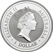 Australia 1 Dollar Kookaburra. Swan River Rottnest Island Privy Mark 1996 ELIZABETH II AUSTRALIA 1 DOLLAR coin obverse