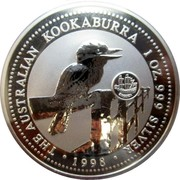 Australia 1 Dollar Kookaburra. Sweden Privy Mark 1998 KM# 362 THE AUSTRALIAN KOOKABURRA 1 OZ. 999 SILVER 1998 coin reverse