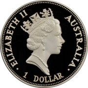 Australia 1 Dollar Kookaburra. Sydney Opera House Privy Mark 1993 KM# 212 ELIZABETH II AUSTRALIA 1 DOLLAR coin obverse