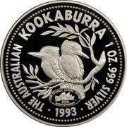 Australia 1 Dollar Kookaburra. Sydney Opera House Privy Mark 1993 KM# 212 THE AUSTRALIAN KOOKABURRA 1 OZ. 999 SILVER 1993 coin reverse
