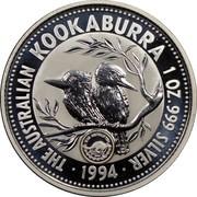 Australia 1 Dollar Kookaburra. Team Australia Privy Mark 1994 KM# 212.1 THE AUSTRALIAN KOOKABURRA 1 OZ. 999 SILVER 1994 coin reverse