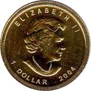 Canada 1 Dollar Maple Leaf 2004  ELIZABETH II 1 DOLLAR 2004 coin obverse