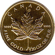 Canada 1 Dollar Maple Leaf 2004  CANADA 9999 9999 FINE GOLD 1/20 OZ OR PUR coin reverse