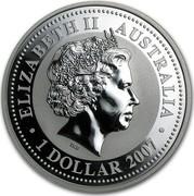 Australia 1 Dollar Year of the Rat 2007 ELIZABETH II AUSTRALIA 1 DOLLAR 2007 coin obverse
