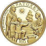 USA $ 10 (00th Anniversary of the Mayflower Voyage) E PLURIBUS UNUM PATUXET CTC PH $10 coin obverse