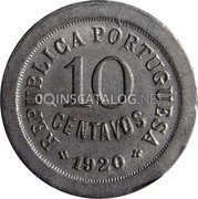 Portugal 10 Centavos 1920 KM# 570 Republic coin obverse