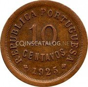 Portugal 10 Centavos 1925 KM# 573 Republic coin obverse