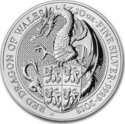UK 10 Pounds (Queen's Beasts - The Dragon) 10 OZ FINE SILVER 999.9 2018 RED DRAGON OF WALES coin reverse