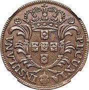 Portugal 10 Reis 1750 KM# 2 Prortuguese Administration Provincial coinage coin obverse