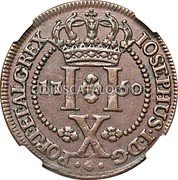 Portugal 10 Reis 1750 KM# 2 Prortuguese Administration Provincial coinage coin reverse