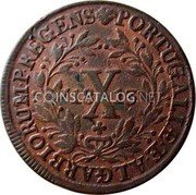 Portugal 10 Reis (X. 1/2 Vinten) 1813 KM# 348 Kingdom Milled coinage coin reverse