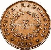 Portugal 10 Reis (X Reis) 1852 KM# 2 Prortuguese colony Early coinage coin reverse