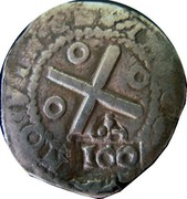 Portugal 100 Reis ND KM# 426.1 Kingdom Countermarked coinage Type III coin obverse