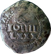 Portugal 100 Reis ND KM# 426.1 Kingdom Countermarked coinage Type III coin reverse
