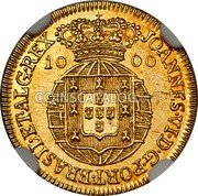 Portugal 1000 Reis (Quartinho. 1200 Reis) 1821 KM# 360 Kingdom Milled coinage coin obverse
