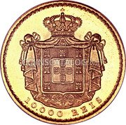 Portugal 10000 Reis 1884 KM# 520 Kingdom Decimal coinage coin reverse