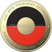 Australia 2 Dollars (50th Anniversary of the Aboriginal Flag) AUSTRALIAN ABORIGINAL FLAG 1971 AUSTRALIAN ABORIGINAL FLAG 2021 coin reverse