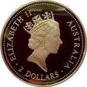 Australia 2 Dollars Kookaburra. 50 Years beyond WW2 privy mark 1995 Proof KM# 290.6 ELIZABETH II AUSTRALIA 2 DOLLARS coin obverse
