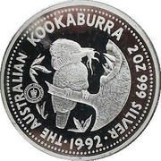 Australia 2 Dollars Kookaburra. Adelaide Pound Privy Mark 1992 KM# 227 THE AUSTRALIAN KOOKABURRA 2 OZ 999 SILVER 1992 coin reverse