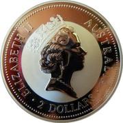 Australia 2 Dollars Kookaburra. Ducat 1729 Dutch Republic privy mark 1996 Proof KM# 290.1 ELIZABETH II AUSTRALIA 2 DOLLARS coin obverse